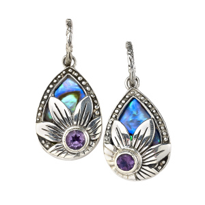 ABALONE WITH FLOWER ACCENT DANGLE STYLE EARRINGS