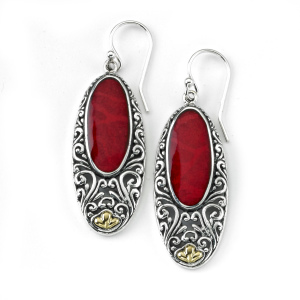 CORAL OVAL EARRINGS WITH BALINESE SWIRL DESIGN
