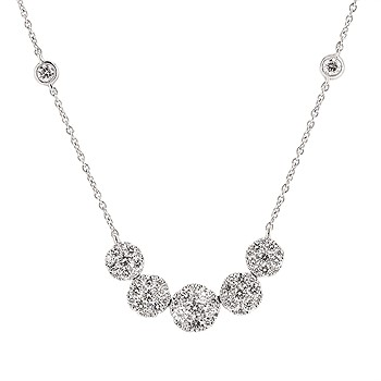 DIAMOND CLUSTER HALO STYLE NECKLACE