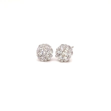 .50ct TOTAL WEIGHT DIAMOND CLUSTER STYLE  STUD EARRINGS