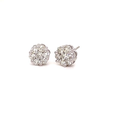 1.00ct TOTAL WEIGHT DIAMOND CLUSTER STYLE  STUD EARRINGS