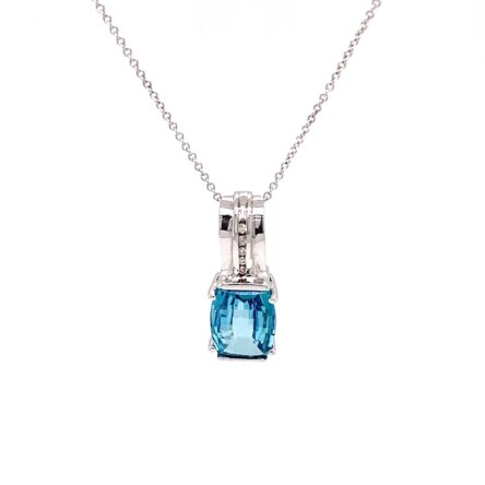 CARRIBEAN BLUE TOPAZ & DIAMOND PENDANT