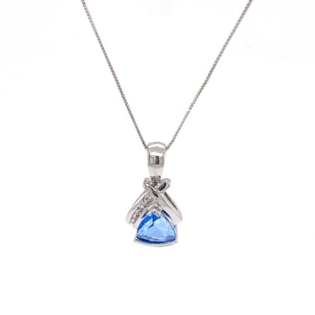 SWISS BLUE TOPAZ & DIAMOND PENDANT