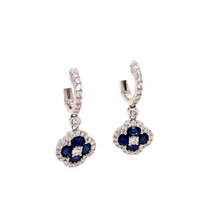 SAPPHIRE & DIAMOND DANGLE EARRINGS