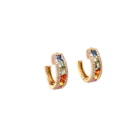 MULTI-COLORED SAPPHIRE & DIAMOND HOOP EARRINGS