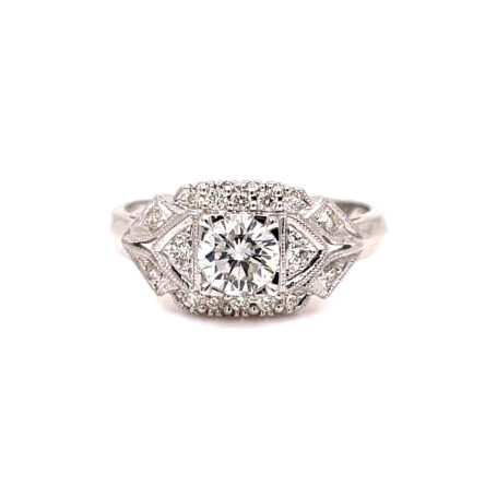 0.51ct Round Brilliant Cut Diamond Antique Style Engagement Ring